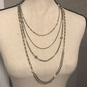Silver and pearl clasp necklace